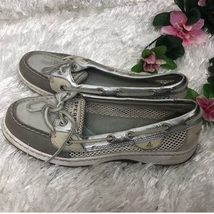 2/$13 Sperry Top Sider Silver Slip on Boat Shoes